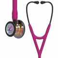 Littmann Cardiology IV Stethoskop hochglänzendes, regenbogenfarbenes Bruststück, himbeerroter Schlauch, Schlauchanschluss und Ohrbügel in Rauchfarben, 69 cm, 6241